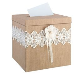 Lillian Rose Rustic Burlap and Lace Card Box