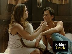 "Tim Rozon and Annie Murphy in Schitt's Creek (2015) - ""Oh, your little doll lips."" Hahaha."