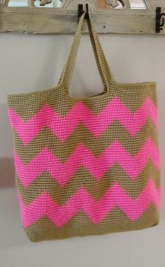 Neon Pink and Tan Chevron Stripe Large Tote Bag by kristinkilgore, $72.00