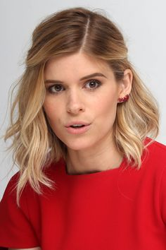 "Lob - Kate Mara - haircolor by Joico's celebrity colorist Denis De Souza. ""Kate Mara had never colored her hair before going blonde,"" de Souza reveals. ""It gives her a certain edge!"""
