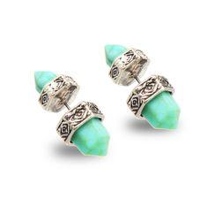 European Ethnic Jewelry Silver Gold Earrings Hexagonal Prism Pile Imitation Turquoise Double Marble Stone Stud Earrings Women