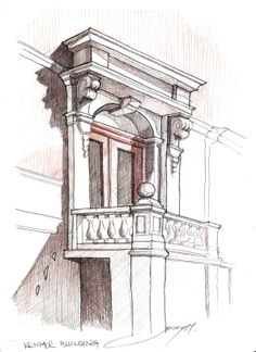 Pediment- watercolor pencil sketch and ballpoint pen, trying James Anzalone's style...