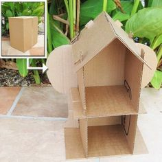 PDF Dollhouse Pattern for Recycling Cardboard Boxes by Sarah Hanson Materials. Use the pattern and turn any cardboard box into a dollhouse. Recycle Cardboard Box, Cardboard Boxes, Crafts With Cardboard, Cardboard Furniture, Kids Crafts, Carton Diy, Cardboard Dollhouse, Cardboard Playhouse, Diy Dollhouse