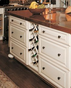 Make your wine a part of your kitchen decor with a built-in wine rack.