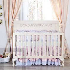 Florence Convertible Crib White with Silver Patina
