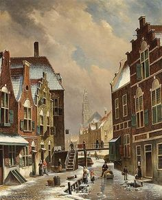 'A Dutch Town In Winter With Figures On A Frozen Canal' by Oene Romkes De Jongh (1812-1896, Netherlands)