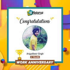 Congratulations Angadbeer Singh on your 4th Work Anniversary with Webguruz!! We appreciate your great dedication towards the organisation!! We wish you good luck with all your future endeavours. . . . . #WorkAnniversary #Anniversary #Happy #ManyMoreToCome #EmployeeAppreciation #WorkCulture #Celebrations #HappyWorkAnniversary #webguruz