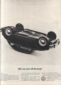 "Vintage Volkswagen Beetles   Vintage VW Beetle Ad ""Kill the Bug"""