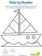 Sailboat Fun Color by Number Coloring Page Printable #earlylearning #prek