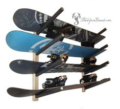 a simple and clean wooden snowboard rack for your garage that holds 4 boards Garage Shoe Rack, Garage Racking, Wall Racks, Bike Rack, Keep It Simple, Garage Organization, Floor Space, Storage Rack, Snowboard
