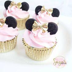 Mini Mouse Cupcakes, Minni Mouse Cake, Minnie Cupcakes, Minnie Cake, Minnie Mouse Pink, Minnie Mouse Party, Birthday Cupcakes, Cupcakes Kids, Gold Cupcakes