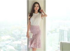 Korean Women`s Fashion Shopping Mall, Styleonme. Lace Skirt, Sequin Skirt, Pretty Asian, Korean Women, Asian Fashion, Sleeveless Blouse, Asian Woman, Chic, High Waisted Skirt