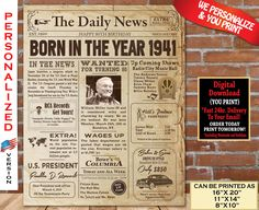 80th Birthday Poster NEWSPAPER | 1941 Birthday Party Decoration Gift Sign Board | AUTHENTIC Look Poster | Born in 1941 Personalized Digital 85th Birthday, Birthday Fun, Birthday Signs, Birthday Ideas, 60th Birthday Party Decorations, Great Birthday Gifts, Newspaper, At Least, Printable