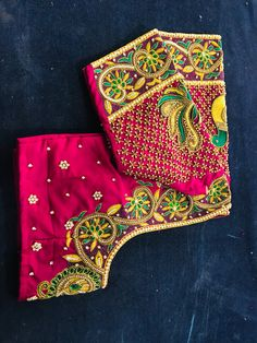Hand Work Blouse Design, Aari Work Blouse, Wedding Saree Blouse Designs, Saree Wedding, Maggam Work Designs, Kids Frocks, Busa, Hand Designs, Sleeve Designs