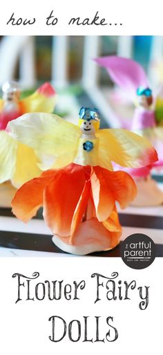 A step by step guide on how to make flower fairy dolls from wooden clothespins and artificial flowers. This is a great craft for kids and families!