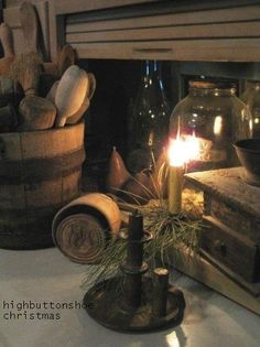 The Hoosier cupboard at Christmas at highbuttonshoe.
