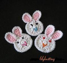Pattern in PDF  Crocheted Applique Bunny Rabbit от LilyKnitting, $3.99