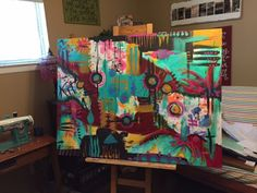 One of my goals for my summer break was to paint a large 3'x5' canvas...an intimidating, massive task to be sure. But I try to be  brave  ...
