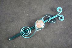 Hair Pin/Shawl Pin Barrette Wire Wrapped Teal Gemstone by gulickkr, $18.00