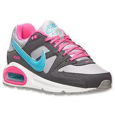 Girls' Grade School Nike Air Max Command Running Shoes| FinishLine.com | Wolf Grey/Pink Foil/Gamma Blue