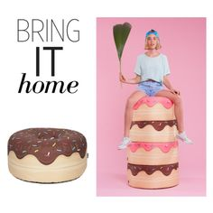 """""""Bring It Home: Woouf Yummy Chocolate Donut Bean Bag"""" by polyvore-editorial ❤ liked on Polyvore featuring interior, interiors, interior design, home, home decor, interior decorating, Woouf! and bringithome"""