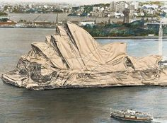 Wrapper on the House … detail from Christo's Wrapped Sydney Opera House , which is going to auction.