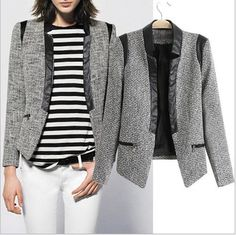 Aliexpress.com : Buy CL796 European Style Famous Brand New Z  Woolen PU Leather Jacket  Suits Outerwear Spring Fall Winter Women Lady free Shipping from Reliable 2013 suit suppliers on Bestore(HK) Co. Ltd $27.99