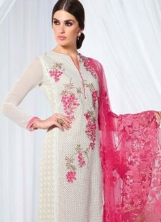 Bewitching Faux Georgette Hot Pink and White Embroidered Work Pant Style Pakistani Salwar Kameez For Festival