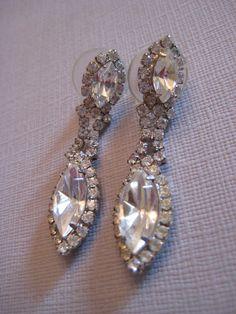 Vintage Rhinestone & Silver Dangle Earrings by PSSimplyVintage, $19.00