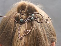 Hair Stick Barrette Copper Wire Leaf China by CopperStreetStudios