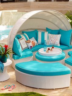 With 231 cu. of space, our versatile, all-weather Baleares daybed serves as a private lounger or seating for six. Outdoor Rooms, Outdoor Living, Outdoor Decor, Pool Furniture, Outdoor Furniture, Blue Furniture, Florida Pool, Gazebo, Gardens
