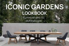 Για το 2021, η DesignPlus δημιούργησε έναν φιλόξενο υπαίθριο χώρο με έμφαση στα υλικά. Η ιταλική συλλογή έπιπλών κήπου και βεράντας Iconic Gardens αντικατοπτρίζει το σύγχρονο lifestyle. Ισχυρές γραμμές στο σχεδιασμό, υλικά και ασυνήθιστα σχήματα... Συνέχισε το διαβασμα Dining Table, Interior Design, Furniture, Home Decor, Nest Design, Decoration Home, Home Interior Design, Room Decor, Dinner Table