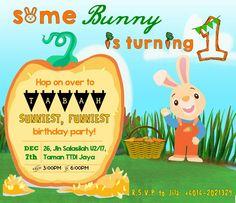 #tabahbhadrika 1st Birthday Party Invitation / Harry-the-Bunny / BabyFirst
