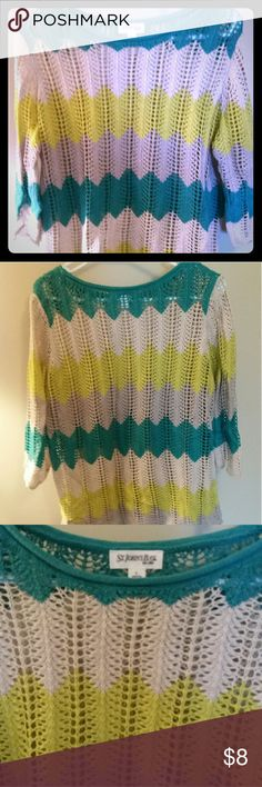 Pretty chevron 3 quarter sleeve sweater This is a see through  chevron sweater with 3 quarter length sleeves. NWOT St. John's Bay Sweaters