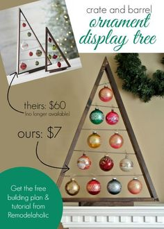 DIY Crate and Barrel Ornament Display Tree Remodelaholic .com DIY and Crafts, DIY Crate and Barrel Ornament Display Tree Remodelaholic . Noel Christmas, Winter Christmas, All Things Christmas, Christmas Ornaments, Outdoor Christmas, Diy Ornaments, Vintage Ornaments, Diy Ornament Storage, Christmas Tree Card Holder