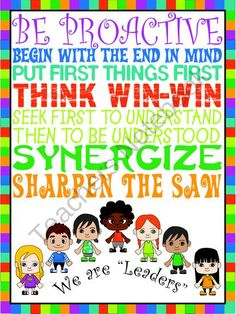 Leader In Me: 7 Habits Posters Happy Kids from Sweet and Neat ...
