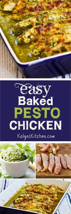 Easy Baked Pesto Chicken is a delicious low-carb chicken dish that's popular all year round on the blog.  [found on KalynsKitchen.com]