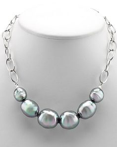 """Rue La La — Majorica Plated Man-Made 16-22mm Pearl Necklace 18"""" long, lobster claw"""