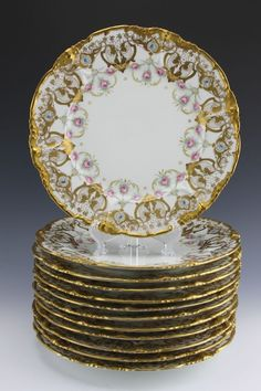 12 Gold Encrusted Hand Painted Rose Swags Pouyat Limoges Cabinet Plate Plates #HandPainted #PouyatLimoges