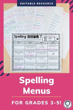 This spelling menu product has 10 different spelling menus to help run your spelling homework or centers. There are four choices a day, three choices a day, and options for parent signatures. There are also EDITABLE options so you can type in your own choices. There are menus in English and in Spanish. This resource is perfect for third, fourth, and fifth grade! #spellingmenus #spelling #ela Spelling Menu, Spelling Homework, 5th Grade Classroom, Spelling Activities, Fifth Grade, Kids Reading, 5th Grades, Choices, Third