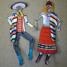 Dia de Los Muertos Articulated Paper Doll Couple by novelatelier, $40.00
