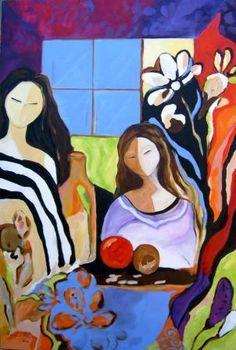 Pintura abstrata e contemporânea - Duas mulheres e seus segredos (Pintura Contemporânea Acrílica sobre tela)
