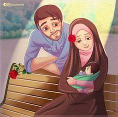 Love Cartoon Couple, Cute Couple Art, Anime Love Couple, Girl Cartoon, Cartoon Family, Couple Dps, Cute Muslim Couples, Muslim Girls, Muslim Women