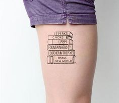 47 Awesome Book Tattoo Designs Ideas For Bookworms - Bellestilo Bookish Tattoos, Nerdy Tattoos, M Tattoos, Literary Tattoos, Baby Tattoos, Creative Tattoos, Cute Tattoos, Beautiful Tattoos, Body Art Tattoos