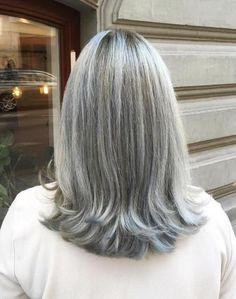 Medium Gray Hairstyle For Straight Hair