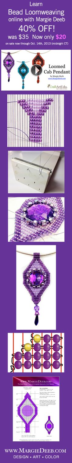 Learn to weave beads and make beaded jewelry online. Buy and the class is yours forever, anytime online. Learn from beadweaving master Margie Deeb, author of Out On A Loom, and the Beader's Color Palette. www.MargieDeeb.com