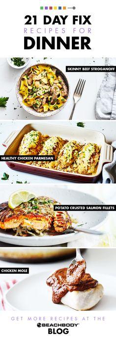21 Day Fix Dinner Recipes | The Beachbody Blog Easy Meat Recipes, Best Dinner Recipes, Appetizer Recipes, Crockpot Recipes, Breakfast Recipes, Chicken Recipes, Easy Meals, Healthy Recipes, Healthy Meals
