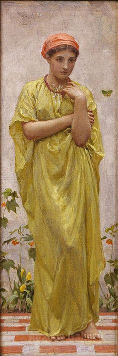 Albert Moore - The Green Butterfly c1878 Reproduction Oil Painting
