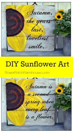 DIY Sunflower Art, Learn to paint large sunflowers. Great Pallet art or do paint them on a large canvas. Add words or leave without! FlowerPatchFarmhouse.com