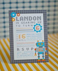 ROBOT Birthday Party Invitation  Customized by andersruff on Etsy, $18.00